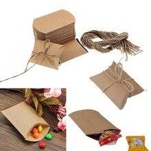 50 adet kılıfı sevimli Kraft kağıt yastık düğün şeker kutusu iyilik hediye şeker kutuları ev partisi doğum günü kaynağı