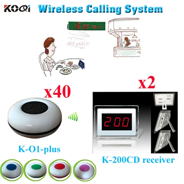 Wireless Calling System Restaurant For Bar Fashion Design 2pcs Display Receiver K-200CD With 40pcs Waterproof Table Button