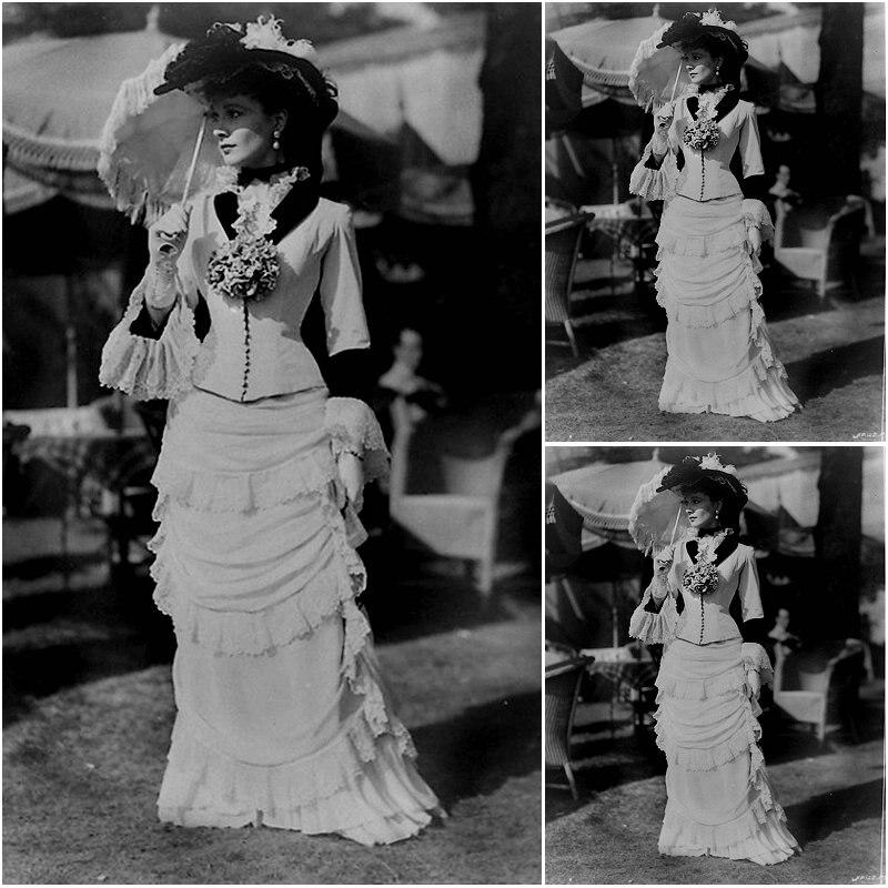 Histórico! Siglo 19 blanco Chiffon Vintage trajes de 1860S de la guerra Civil vestido vestidos Scarlett nos 4-36 C-145