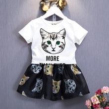 Baby Meisjes Kleding Peuter Kids Kleding Set Cartoon Kat Brief T-shirt Tops + Korte Rok 2 Stuks Kinderen Meisje Zomer sets
