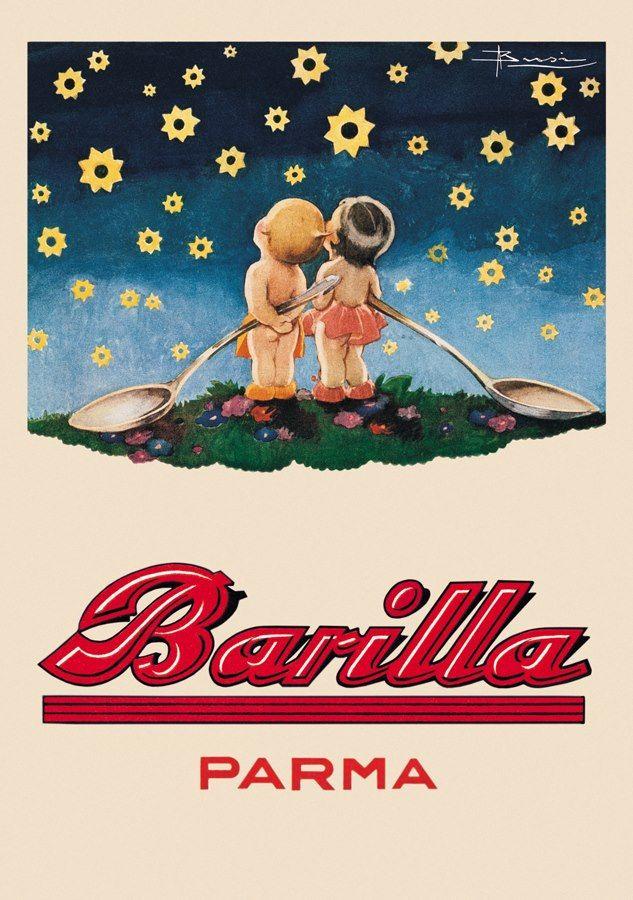 Affiche de publicité Vintage alimentaire   Autocollant mural de décoration de maison, en papier Kraft classique, Barilla Parma, peinture sur toile, autocollant de décoration pour salle de bain, cadeau
