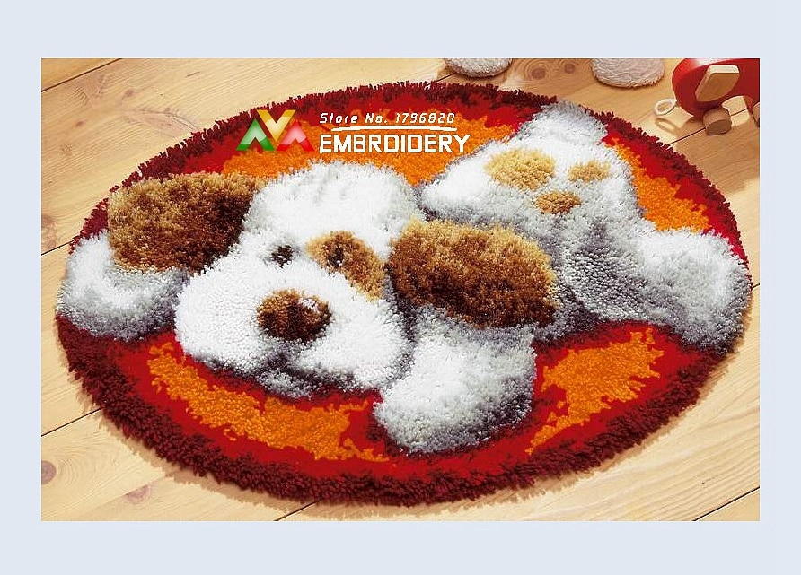 Free Shipping DIY Needlework Kits Unfinshed Crocheting Yarn Mat Latch Hook Rug Kit Floor Mat Lovely Dog 4 Picture Carpet Set