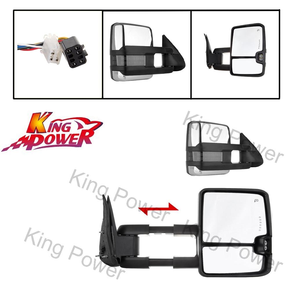 Envío Gratis-kp-King Way-par de espejos de remolque, señal de liquidación de calor, lado cromado para 99-02 Chevy GMC