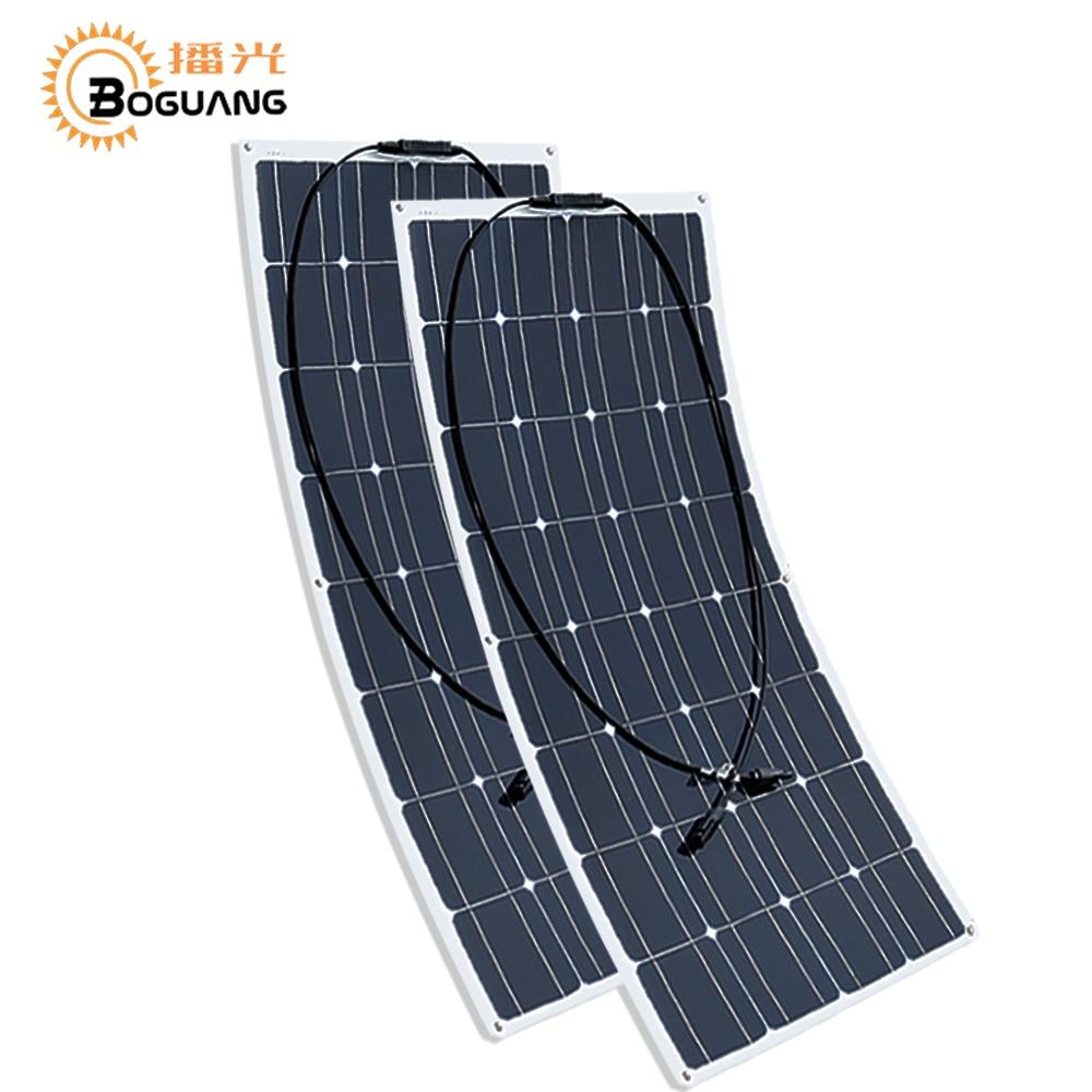 Boguang-Panel Solar semiflexible de 100w placa solar fotovoltaica monocristalina, 12v, 24V, batería/yate/RV/coche/barco...