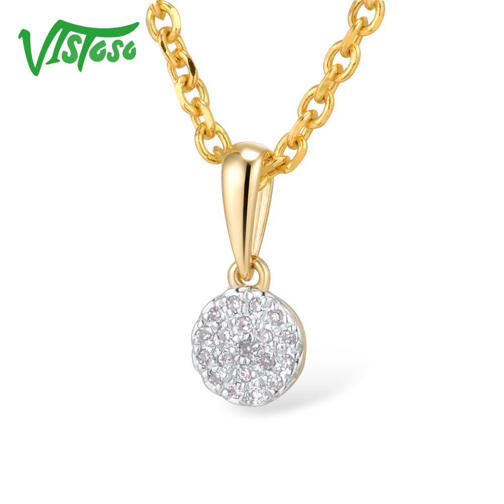 VISTOSO الذهب المعلقات للنساء أصيلة 14K 585 الذهب الأصفر صغيرة جولة دائرة تألق الماس قلادة قلادة غرامة مجوهرات