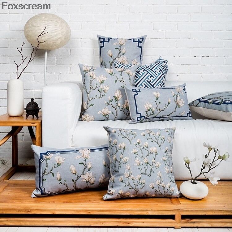 Housse de coussin en lin pour canapé   Coussins décoratifs chinois en fleurs, coussins de canapé cusion bleus, décoration de la maison