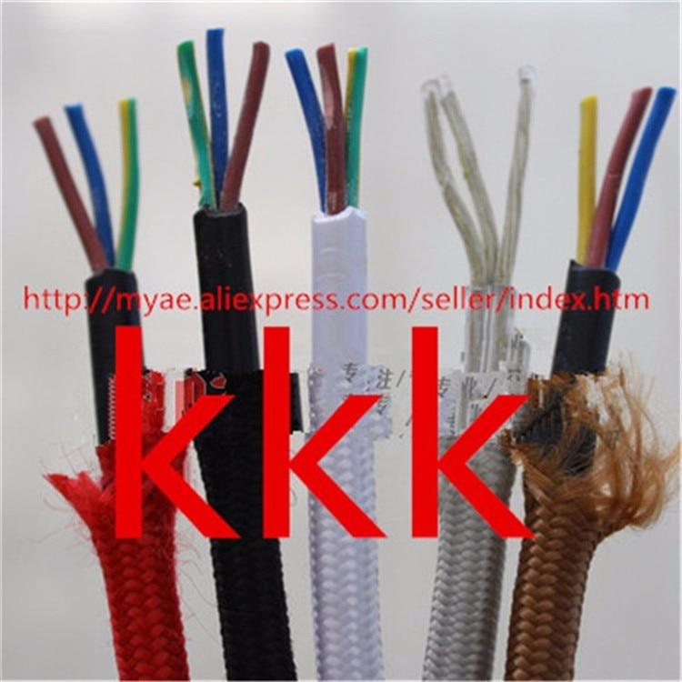 5 m/10 m lote 3 núcleos colores tela alambre 3*0,75mm cable textil retro tejido malla cable y cable 3*0,75mm