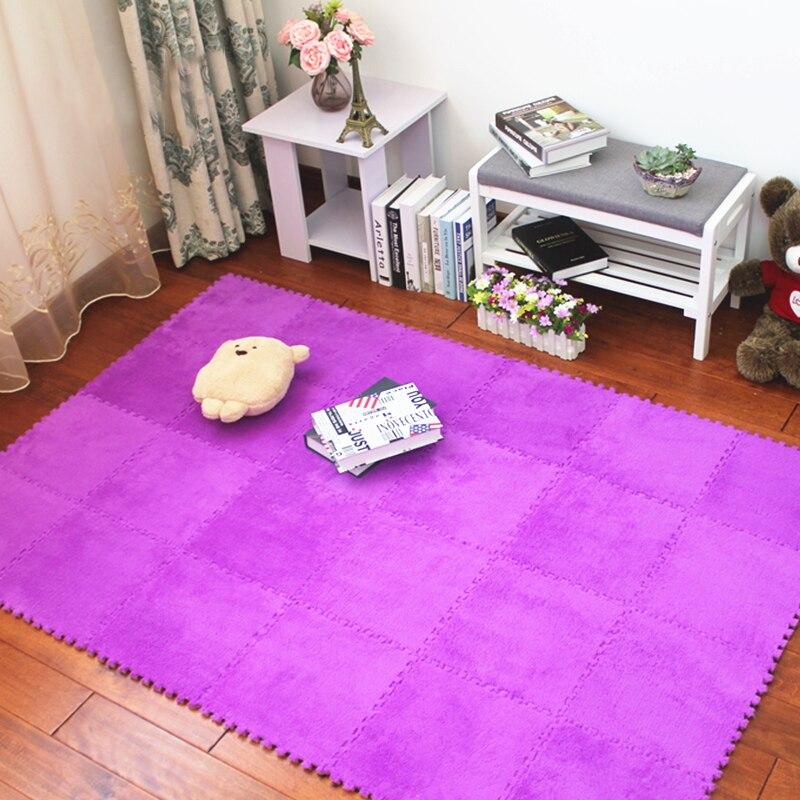JCC suave bebé EVA espuma Velveteen rompecabezas estera de juego/niños alfombras alfombra enclavamiento ejercicio piso para niños azulejos 30*30*0,6 cm