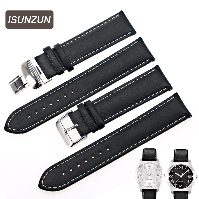 Correas de reloj ISUNZUN para Tissot T014 T049 PR100, correa de reloj de cuero genuino de 19 MM, correas de cuero Nato de gran calidad