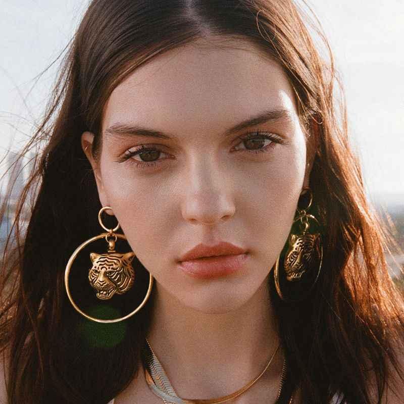 2019 New Latest Women S Gold Big Lion Circle Tiger Loop Dangle Earrings Female Vintage Party Jewelry Lion Statement Earring Drop Earrings Aliexpress