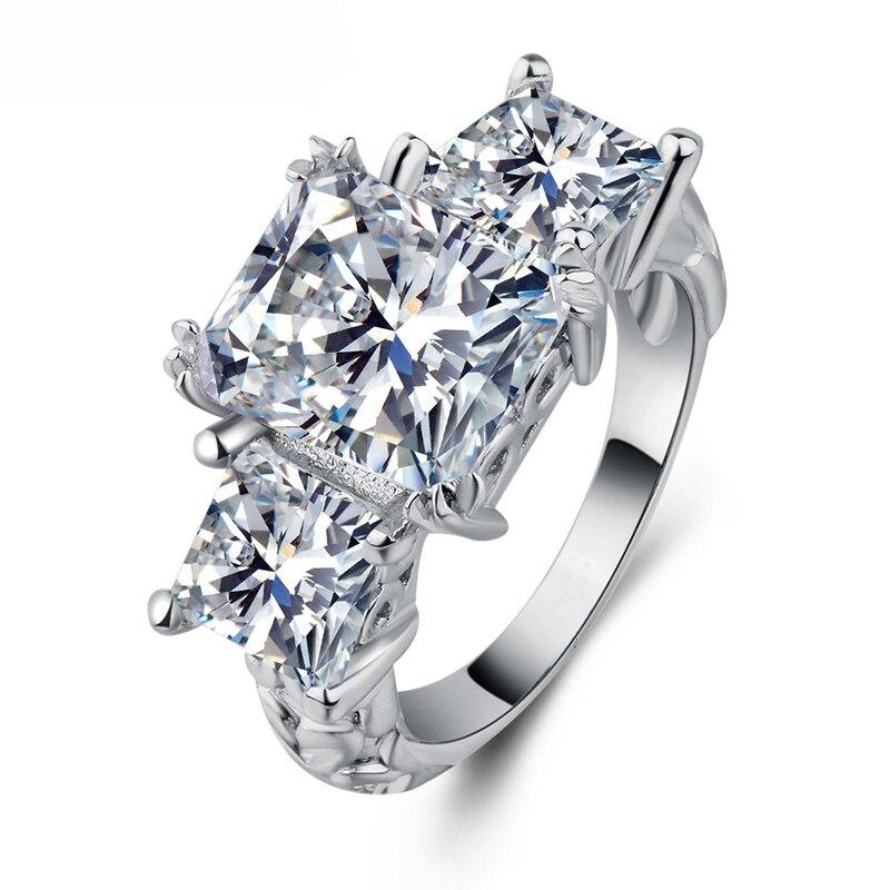 Anillos de Compromiso de Plata de Ley 925 de cristal cuadrado de lujo de Utimtree para mujer, anillos de boda, anillos de moda