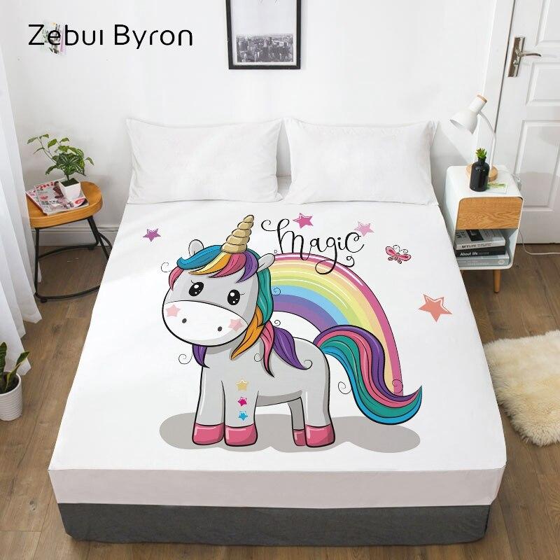 3D HD קריקטורה מיטת גיליון עם גומי, מצויד גיליון לילדים/תינוק/ילדים/ילד/ילדה, קסם קשת unicorn מזרן כיסוי 160x200