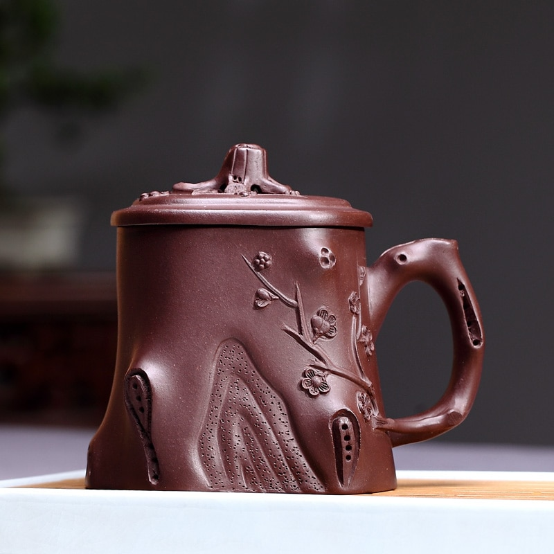 Taza de arena púrpura Yixing run of mine ore TaoYuan taza de salud manual pura tapa taza de fragancia de arcilla púrpura