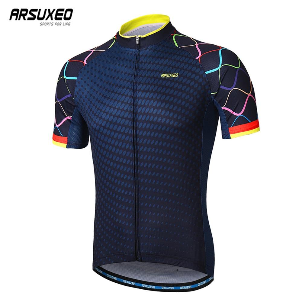 Мужская велосипедная футболка ARSUXEO, быстросохнущая футболка с коротким рукавом для езды на велосипеде, z84