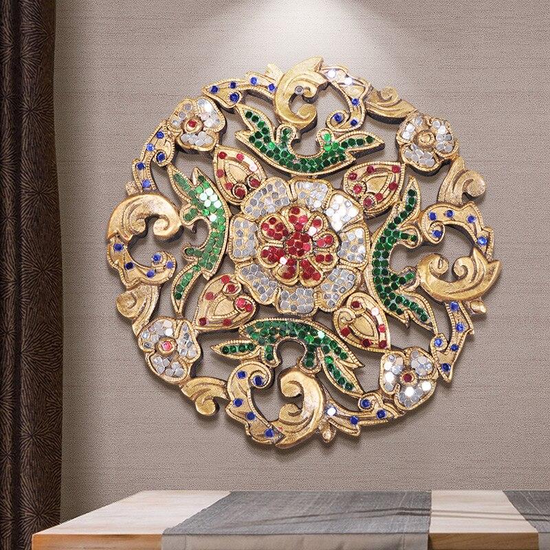 Artesanía plato tallado pequeño decoración de pared del sudeste asiático pintado de madera decoración de Club manualidades