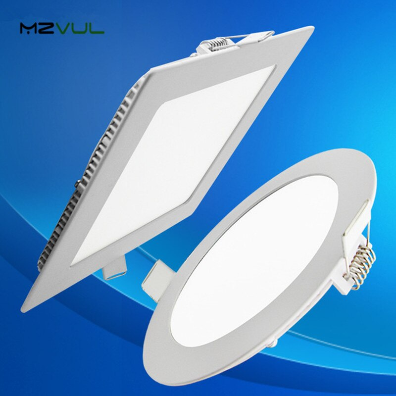 Ultra diseño fino 3W 4W 6W 9W 12W 15W 18W LED techo empotrado rejilla Downlight/Delgado redondo y cuadrado Panel plano