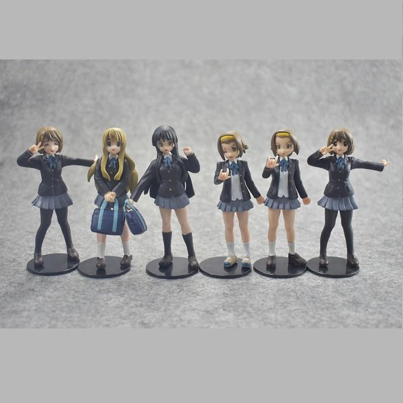 6 unids/set Japón Anime acción figura K-ON Akiyamn Mio Yui Hirasawa uniforme escolar dibujos animados 10cm PVC coleccionable modelo muñeca de cosplay