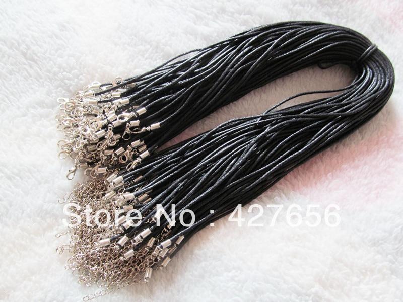 Черный вощеный хлопковый шнур для ожерелий, 20 шт., 1,5 мм, 1,8 дюйма, удлинитель для цепи, 12 мм x 7 мм, застежкой-лобстером, шнур для ювелирных издел...