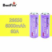 2 шт. 26650 Bestfire 6000 мАч 3,7 В литий ионная аккумуляторная батарея для электронной сигареты вейп светодиодный фонарь светильник 26650 B009 B043