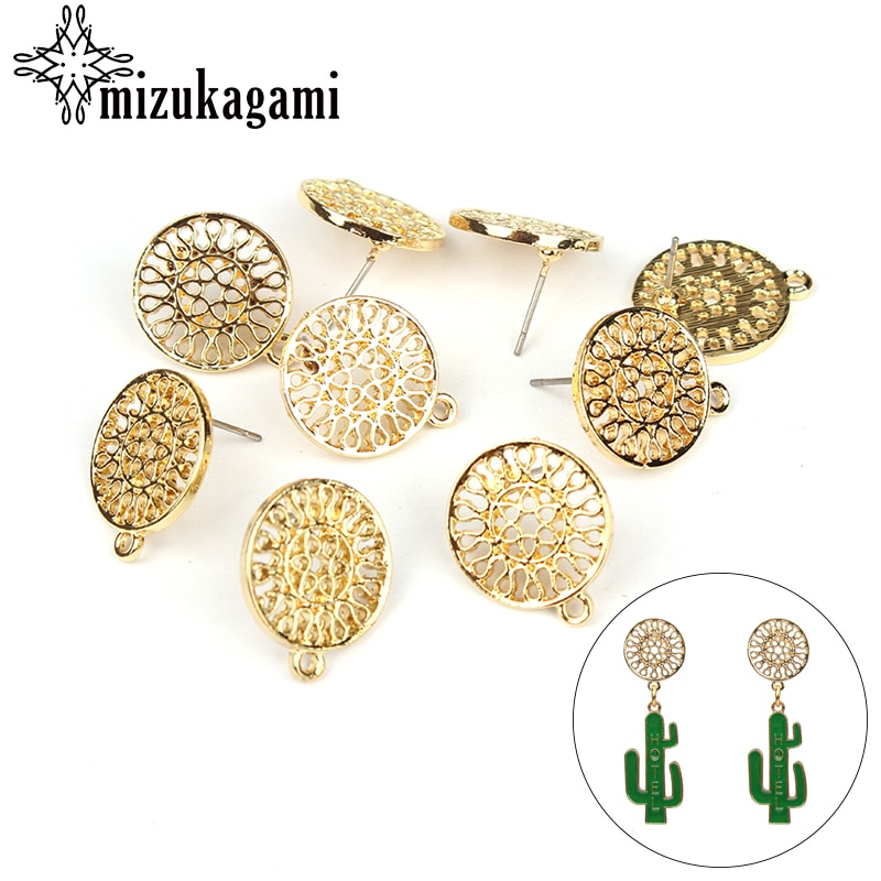 6pcs/lot Gold Zinc Alloy Fashion Round Flowers Base Earrings Pendant Connector For DIY Jewelry Accessories