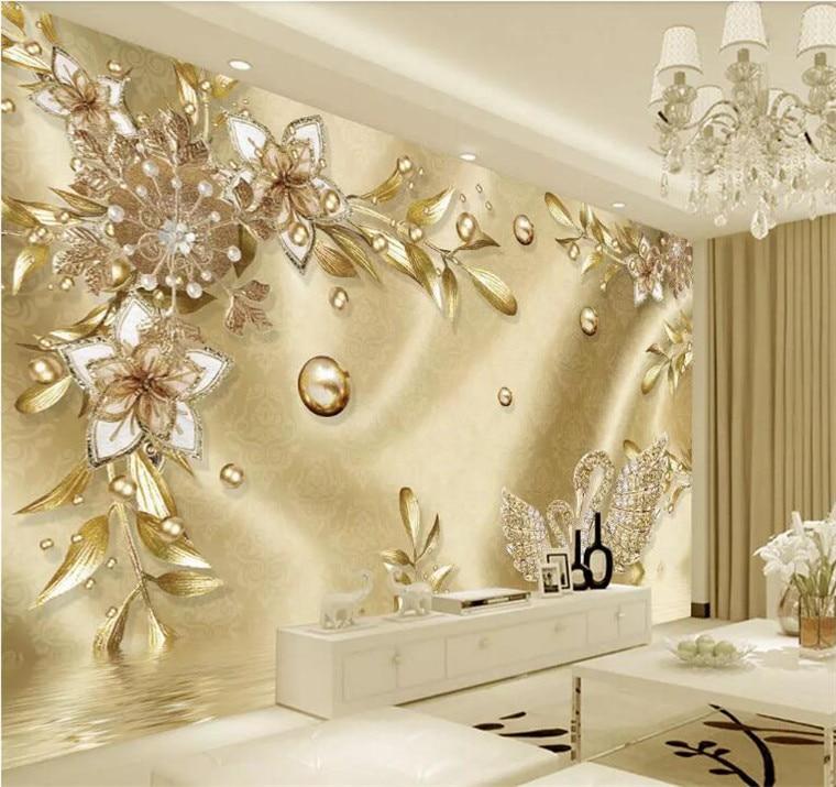 Papel tapiz de foto personalizado 3D Stereo flor dorada joya estilo europeo murales de lujo sala de estar TV Hotel pinturas de pared de fondo