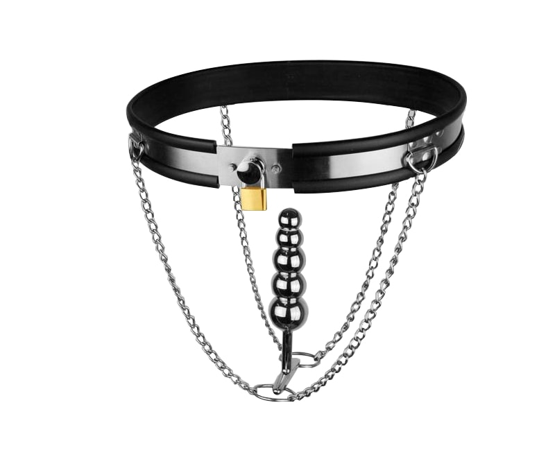 Adjustable Mode T-shaped Stainless Steel New Style Female Chastity Belt Anal Plug Bondage Gear Sex Toys Games for Men and Women