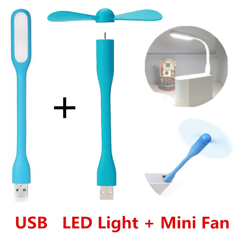 Creative USB Fan Flexible Portable Mini Fan and USB LED Light Lamp Xiaomi Book For Power Bank Notebo