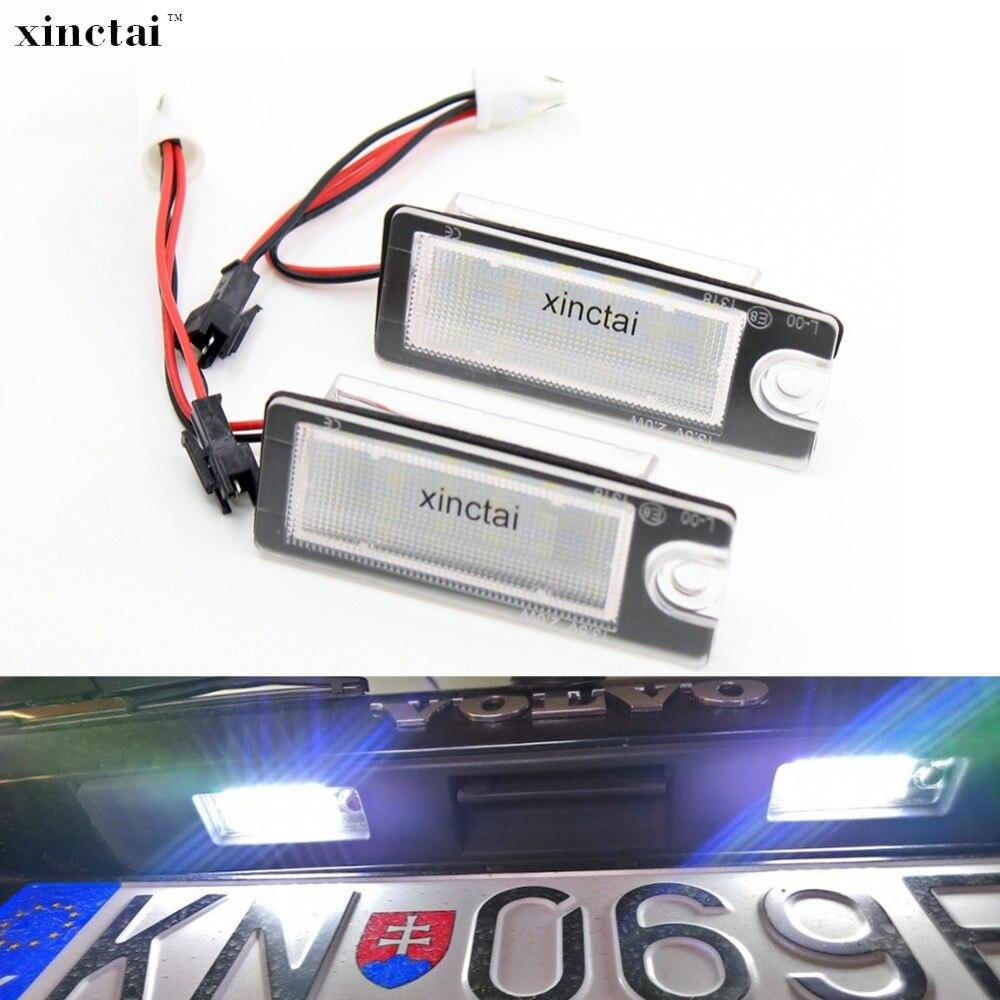 2 pces carro led número da placa de licença luz erro livre para volvo xc90 s60 xc70 v70 s80