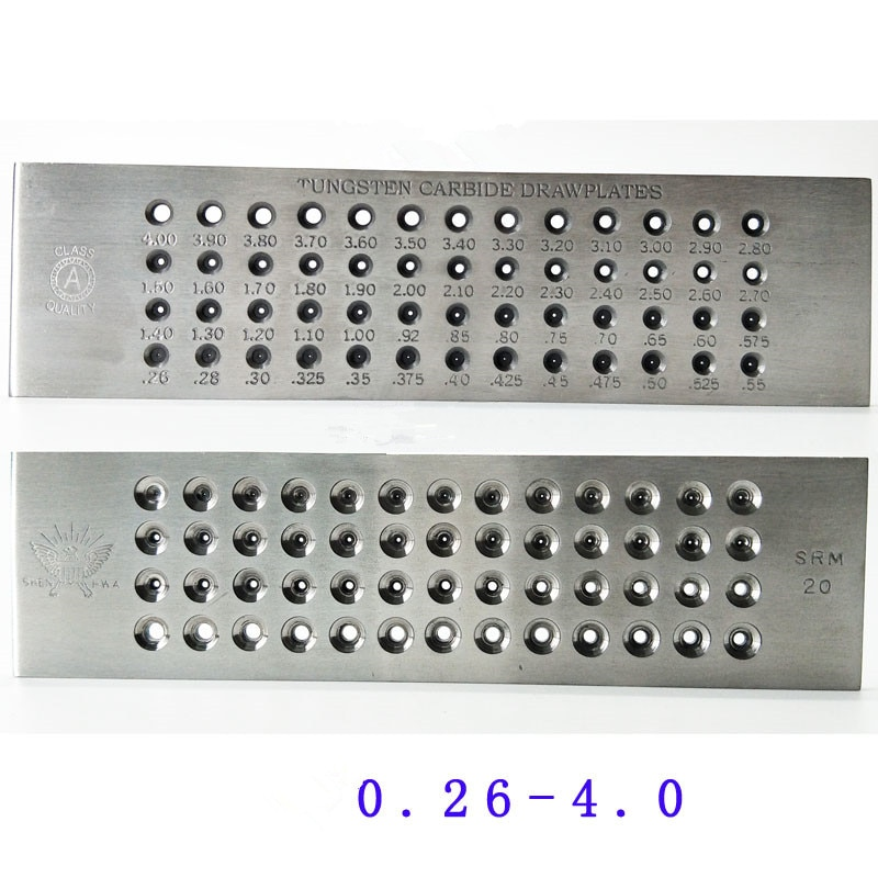 52 Hole Tungsten carbide draw plate ROUND 0.26 to 4.1mm NEW free shipping 20 holes hole size 1 10 3 00mm half round shape draw plate jewelry tungsten drawplates