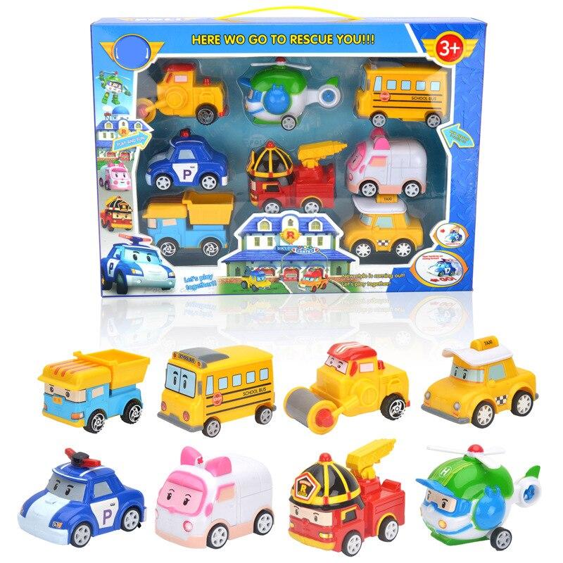 Robocar Poli juguetes de Corea 8 unids/set con caja Poli Amber Roy Pull Back coche juguetes Anime figuras de acción de juguete mejores regalos para los niños