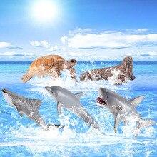 Enfants Mini Simulation réaliste mer vie océan animaux marins modèles requin baleine tortue dauphin bain douche baignoire éducation jouet