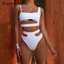 NEUE Weiß Hohe Taille Bademode Frauen Strand Tragen Cut Out Bikinis Sexy Push Up Badeanzug Zwei Stück Badeanzug Plus größe Bikini Set