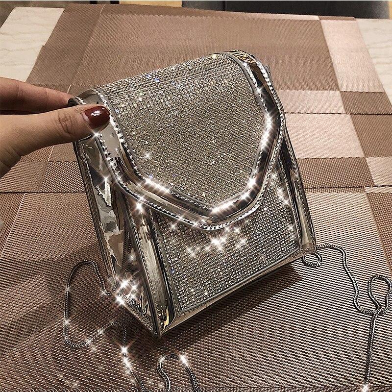 Diamante quadrado saco 2019 verão moda nova qualidade couro do plutônio bolsa de telefone designer feminina corrente ombro sacos mensageiro