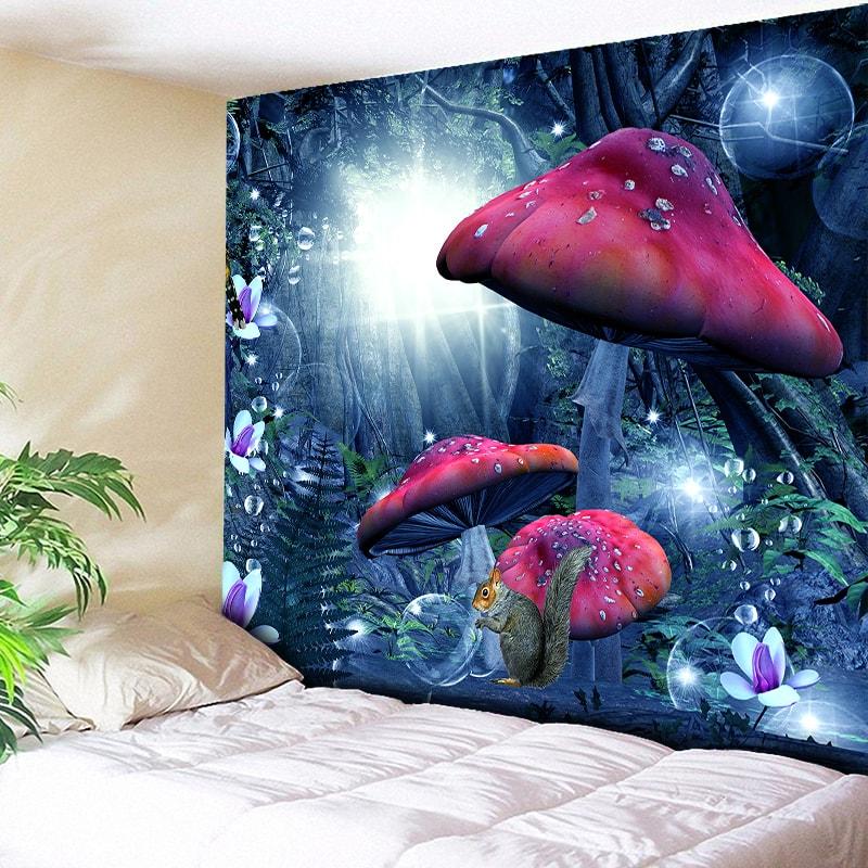 Tapiz de pared de bosque mágico, tapiz decorativo de setas rojas para pared, tapiz de pared artística para decoración del hogar, tapiz bohemio Hippie L59in
