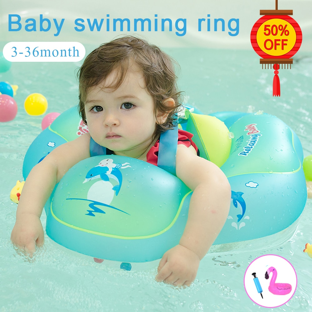 Inflatable Swimming Ring Baby Accessories Child Pool Float Newborns Bathing Circle Toy Blue Green PV