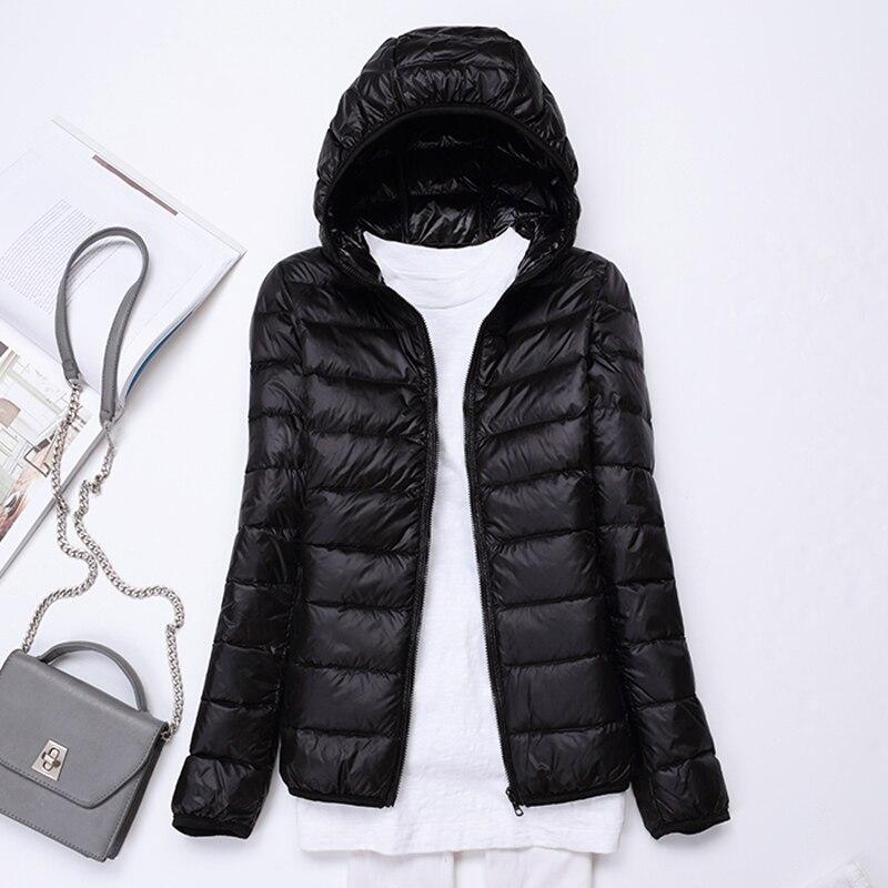 7XL Plus Size Winter Hooded Down Jacket Women Long Sleeve Warm 90% White Duck Down Down Ultra Light  Casual Jacket Coat