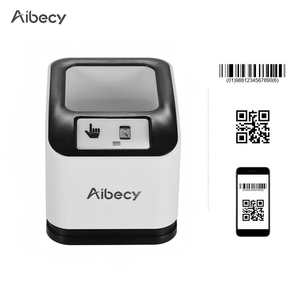 Escáner de código de barras Aibecy 2200 1D/2D/QR CMOS, escáner de código de barras de escritorio de imagen, lector de código de barras de pantalla omnidireccional USB