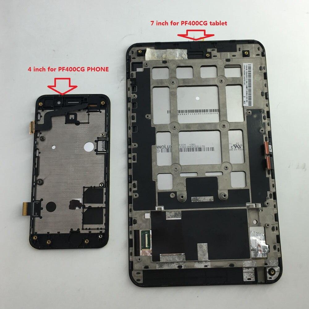 Pantalla LCD de 800x480 Digitalizador de pantalla táctil piezas de reemplazo del panel de vidrio con marco para la tableta del teléfono Asus PadFone mini PF400CG