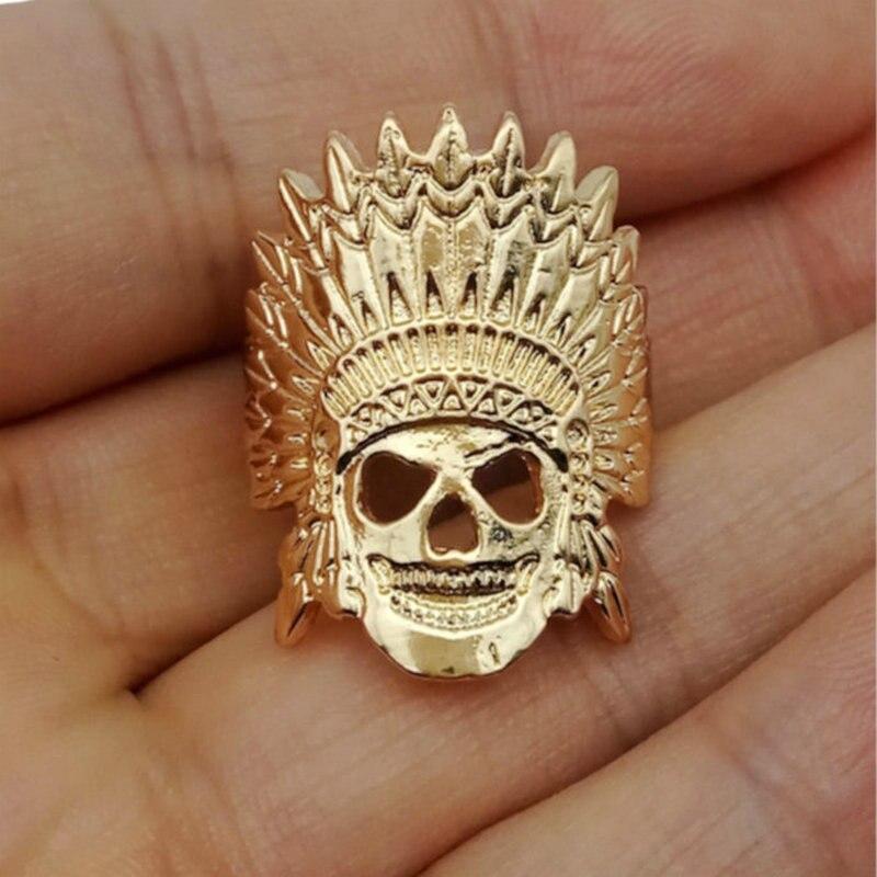 Anillos de oro para mujeres, elegante anillo de calavera de jefe indio, joyería de anillo de Faraón