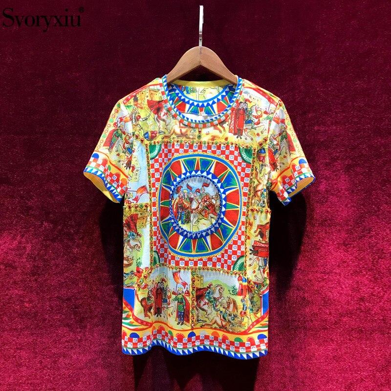 Женская винтажная футболка Svoryxiu, разноцветная хлопковая футболка с принтом в стиле барокко, расшитая бисером, на лето 2019