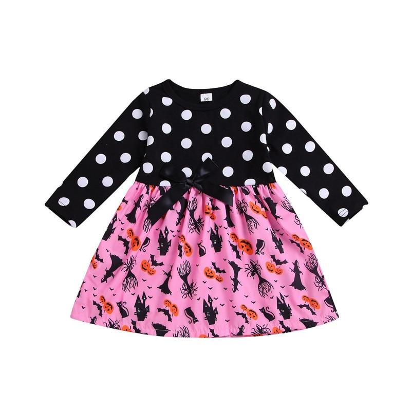 2019 Autumn Girls Cotton Dress Children Clothes Baby Long Sleeve Dot Cartoon Print Bow Party Dress Kids Girls Casual Dress 2-7T girls bow detail cherry print dip hem dress