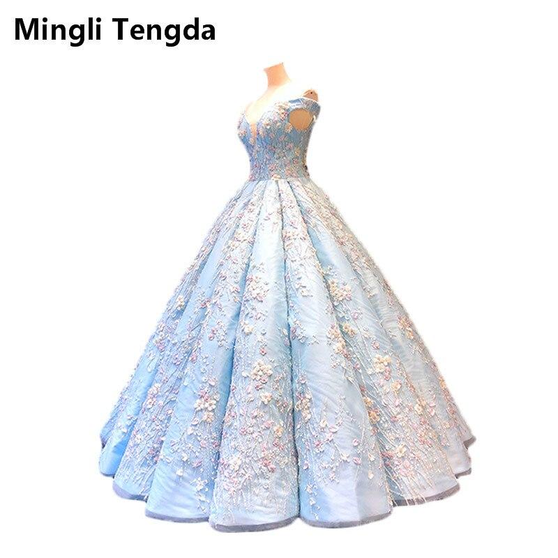 Mingli Tengda Mori-فستان كوينسيانيرا منتفخ ، أزرق ، أكتاف عارية ، مطرز بالزهور واللؤلؤ ، ثوب الكرة 16
