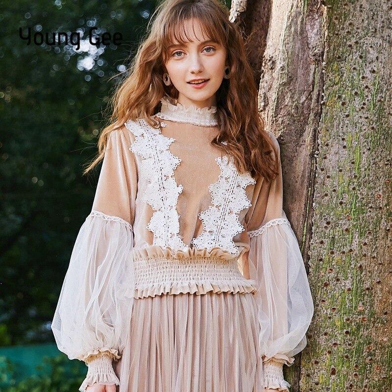 Young Gee 2019 Spring Women Blouse Shirt Series Round Collar Lace-up Ladylike Velvet Blusas Elastic Waist Tops feminina camisa