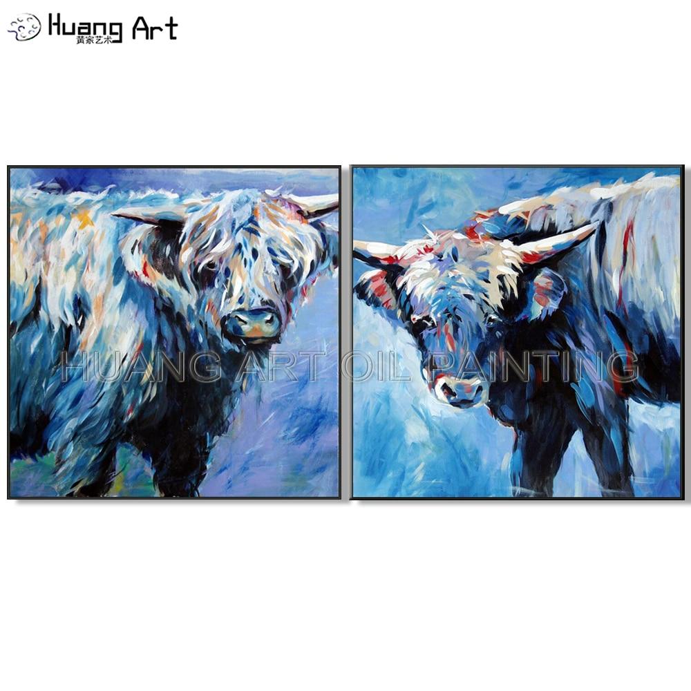 Arte moderno de alta calidad pintado a mano de alto artista, pintura de toro en lienzo para decoración para sala de estar, arte de animales de vaca