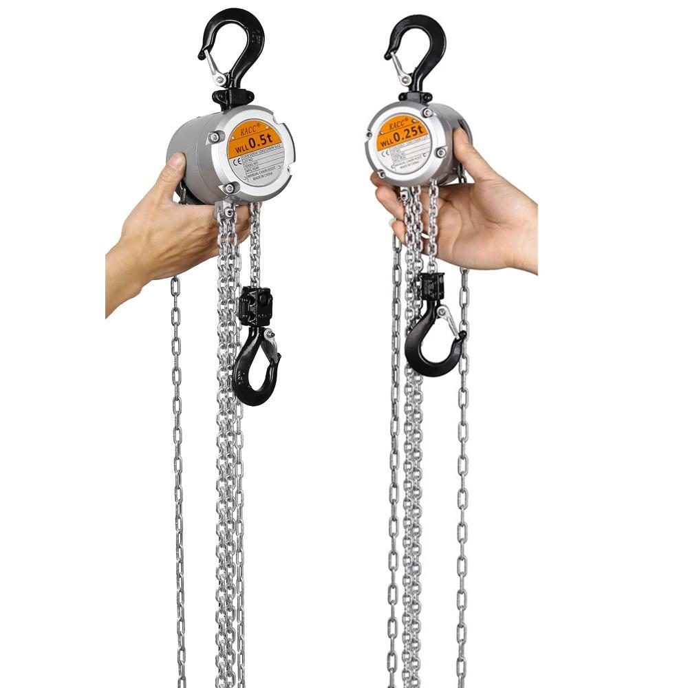 KACC Mini Hand Chain Hoist Hook Mount 0.25/0.5 Ton Capacity 3M Lift  CE Certificate Portable Manual Lever Block Lifting