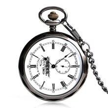 Punki Face ouverte remontage à la main mécanique montre de poche blanc Train chiffres romains affichage cadran Cool hommes femmes Vintage horloge cadeaux