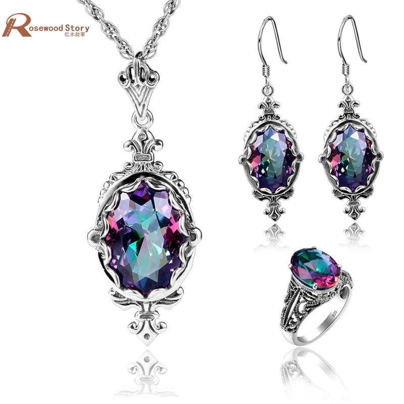 Get Dubai Jewelry Sets Earrings & Ring Fire Mystic Rainbow Vintage Crystal Earrings Solid 925 Silver Bridal Wedding Schmuck Sets