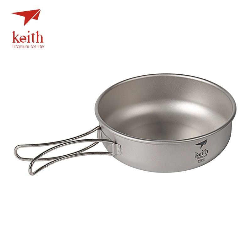 Boles de titanio de Camping Keith de 300 ml-600 ml con manijas plegables de titanio, Boles plegables, utensilios de cocina, vajilla, cubertería, Ti5323-Ti5326