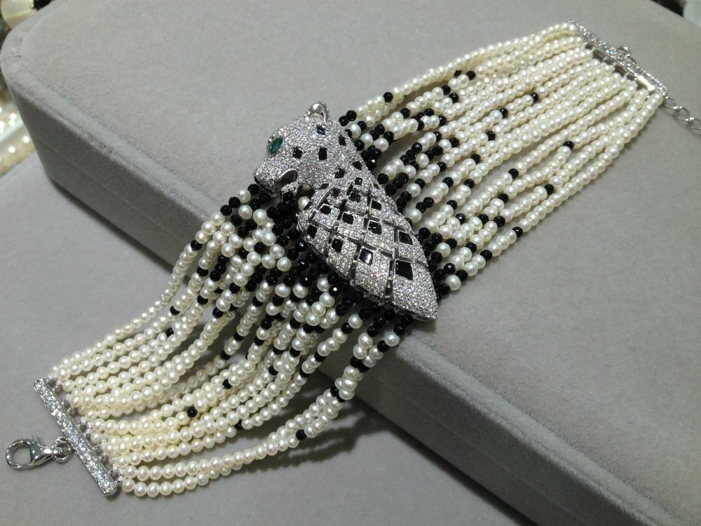 2-3 mm Natural Pearl Bracelet Multilayer Pearl stone Bracelet Leopard 925 Sterling Silver With Zircon
