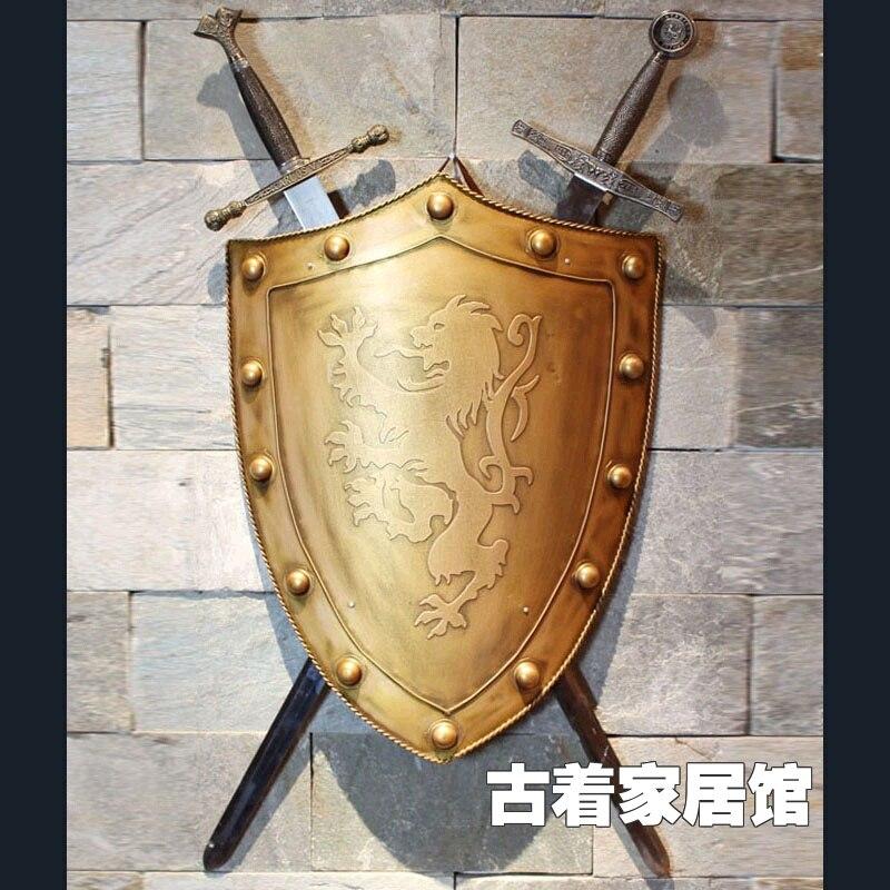 Escudo de Espada de hierro tecnología retro/bar/cafetería decoración bar sala de fondo decoración de pared